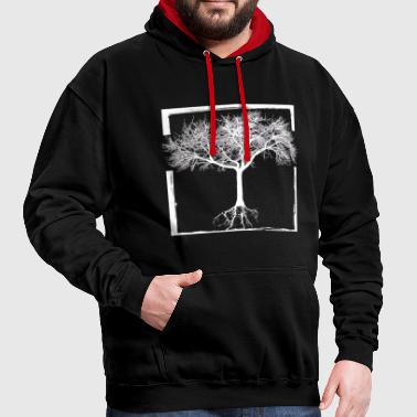 Mother Nature - frame tree forest life Root Earth - Contrast Colour Hoodie