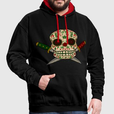 Mexican skull and daggers vintage.Dia de muertos - Contrast Colour Hoodie