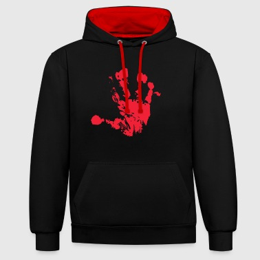 Handprint red - Contrast Colour Hoodie