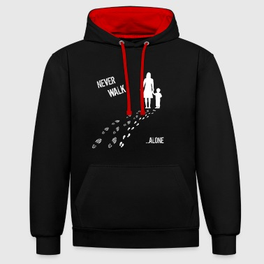 Mother & SON Never Walk Alone - Bluza z kapturem z kontrastowymi elementami