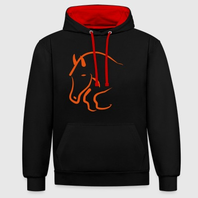 2541614 12182813 Jumping horse - Contrast Colour Hoodie
