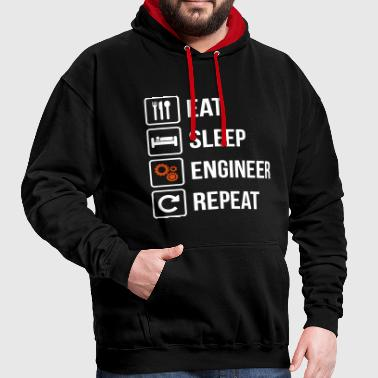 Eat Sleep Ingegnere Repeat - Felpa con cappuccio bicromatica