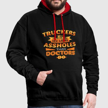 Truck Driver Tshirt Present for Truck Drivers funn - Contrast Colour Hoodie