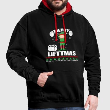 Elf Merry Liftmas Fitness Sport Bodybuilder - Contrast Colour Hoodie