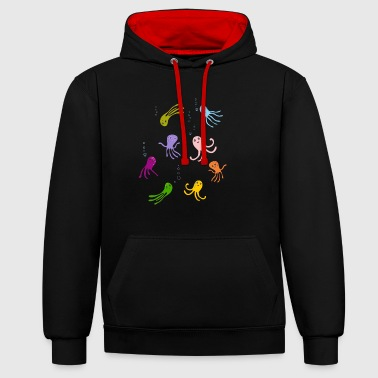 octopus play children water tentacle funny funny - Contrast Colour Hoodie
