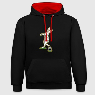 I love football Easter easter bunny gift - Contrast Colour Hoodie