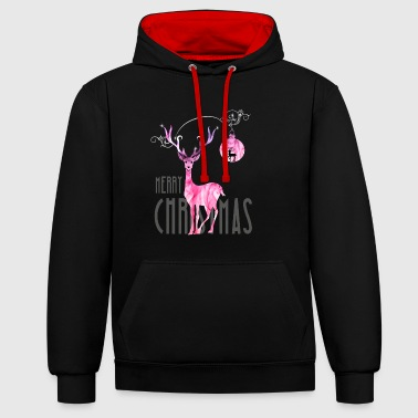 rentier pink Christmas advent nicholas girl woman - Contrast Colour Hoodie