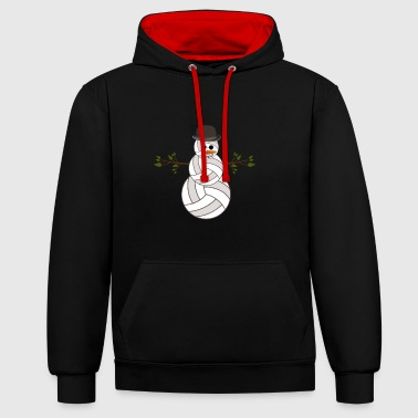 Volleyball Snowman Volleyball Balls Christmas - Contrast Colour Hoodie