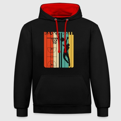 Vintage Retro Basketball Gifts. Coach Academy. Dad - Contrast Colour Hoodie