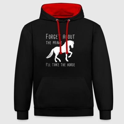 I love my horse gift / design - Contrast Colour Hoodie