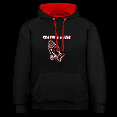 Prayin Flexin White Red - Contrast Colour Hoodie