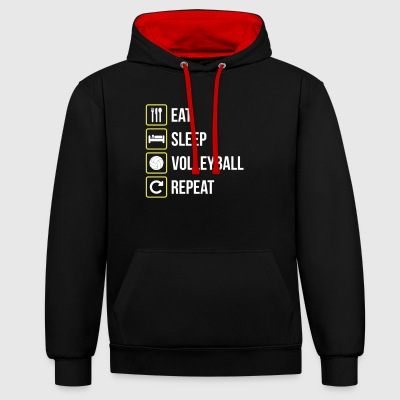 Eat Sleep Pallavolo Repeat - Felpa con cappuccio bicromatica