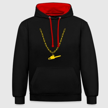 Chain saw woodcutter gold chain - Contrast Colour Hoodie