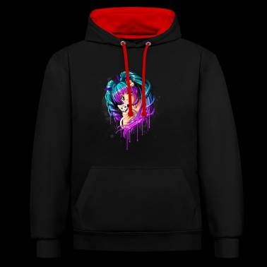 Kitten and Pigtail Manga Girl - Contrast Colour Hoodie