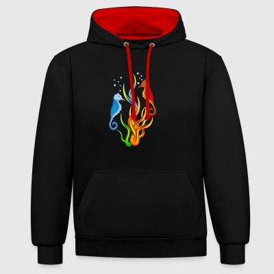 Sea horse with seaweed - Contrast Colour Hoodie