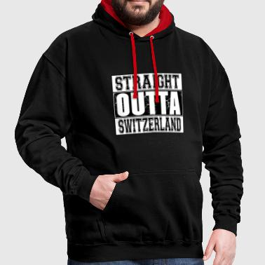 Straight Outta Switzerland 002 AllroundDesigns - Kontrast-Hoodie