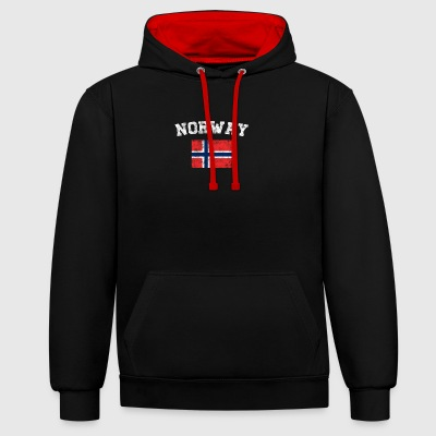 Norwegian Flag Shirt - Vintage Norway T-Shirt - Contrast Colour Hoodie