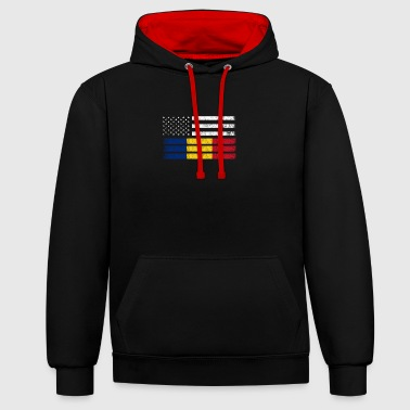 Romanian American Flag - USA Romania Shirt - Contrast Colour Hoodie