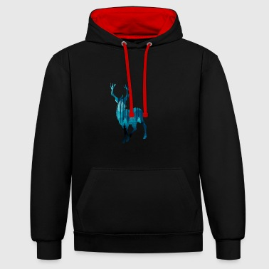 Deer in the woods in the evening - Contrast Colour Hoodie