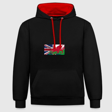 British Welsh Half Wales Half UK Flag - Contrast Colour Hoodie