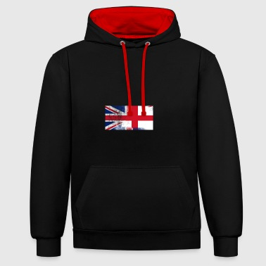 British English Half England Half UK Flag - Contrast Colour Hoodie