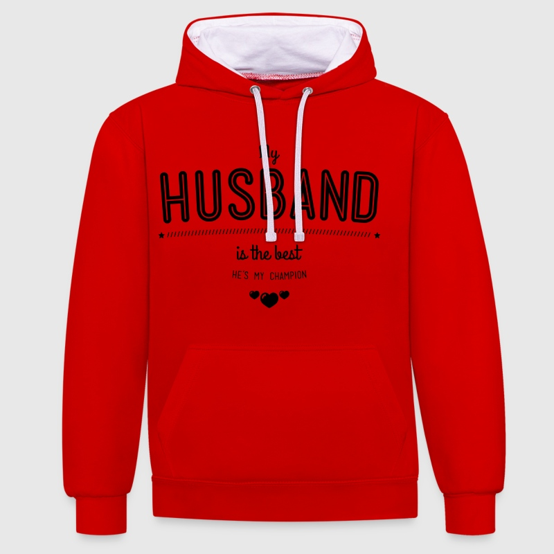 my husband is best - Bluza z kapturem z kontrastowymi elementami
