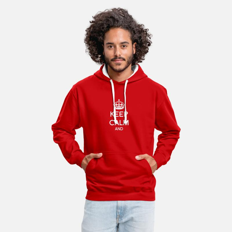 Keep Calm Sweat-shirts - Keep calm - Sweat à capuche contrasté unisexe rouge/blanc