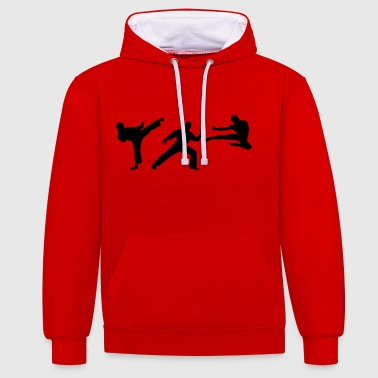 Taekwondo Martial Arts - 3 Fighters - Sudadera con capucha en contraste