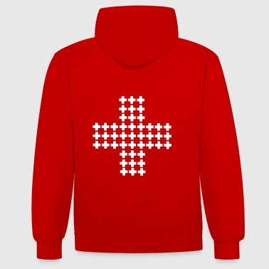 Many Swiss crosses - Contrast Colour Hoodie