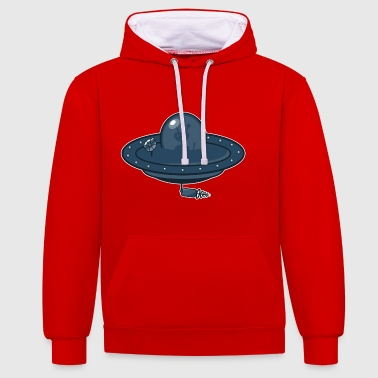 Flying saucer and Alien - Contrast Colour Hoodie