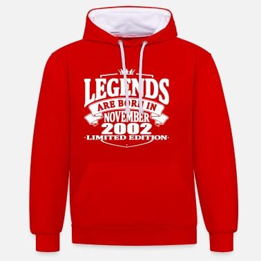 2002 Legends are born in november 2002 - Contrast Colour Hoodie