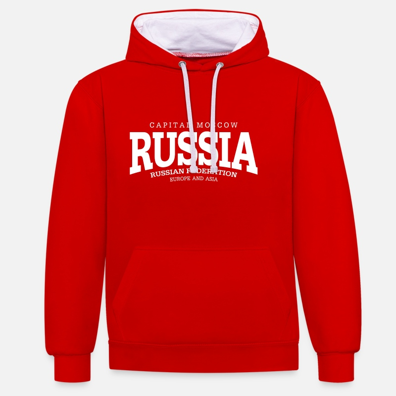 Cccp Pullover & Hoodies - Russia (white) - Unisex Hoodie zweifarbig Rot/Weiß