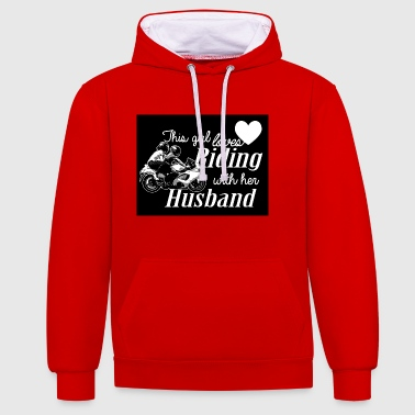 This Girl Loves Riding With Her Husband - Contrast Colour Hoodie
