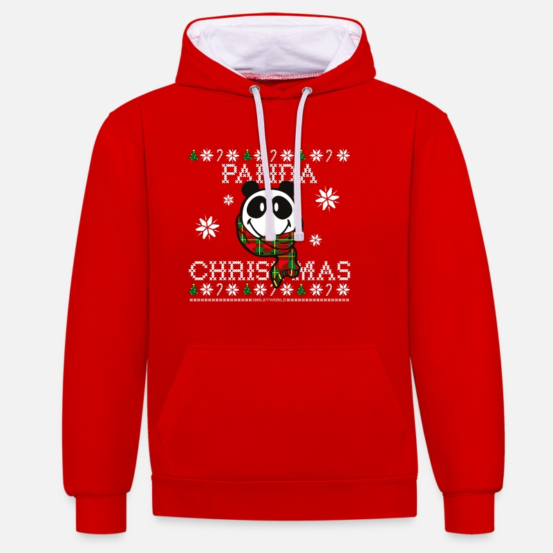 Christmas Hoodies & Sweatshirts - SmileyWorld Christmas Panda - Unisex Contrast Hoodie red/white