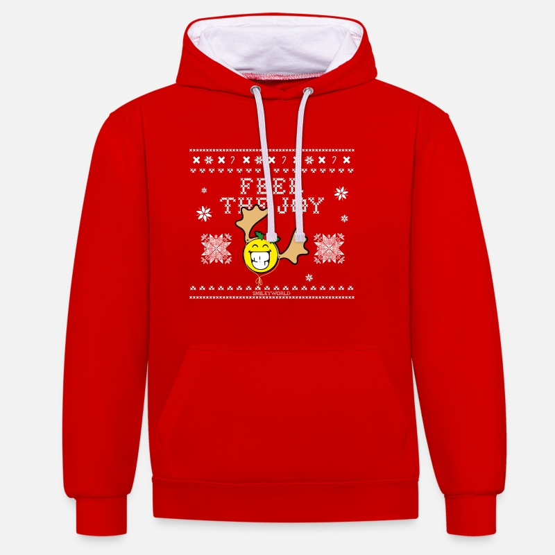 Christmas Pullover & Hoodies - SmileyWorld Weihnachten Feel The Joy - Unisex Hoodie zweifarbig Rot/Weiß