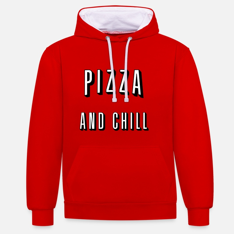 Pizza Sweaters - Pizza and chill - Unisex contrast hoodie rood/wit