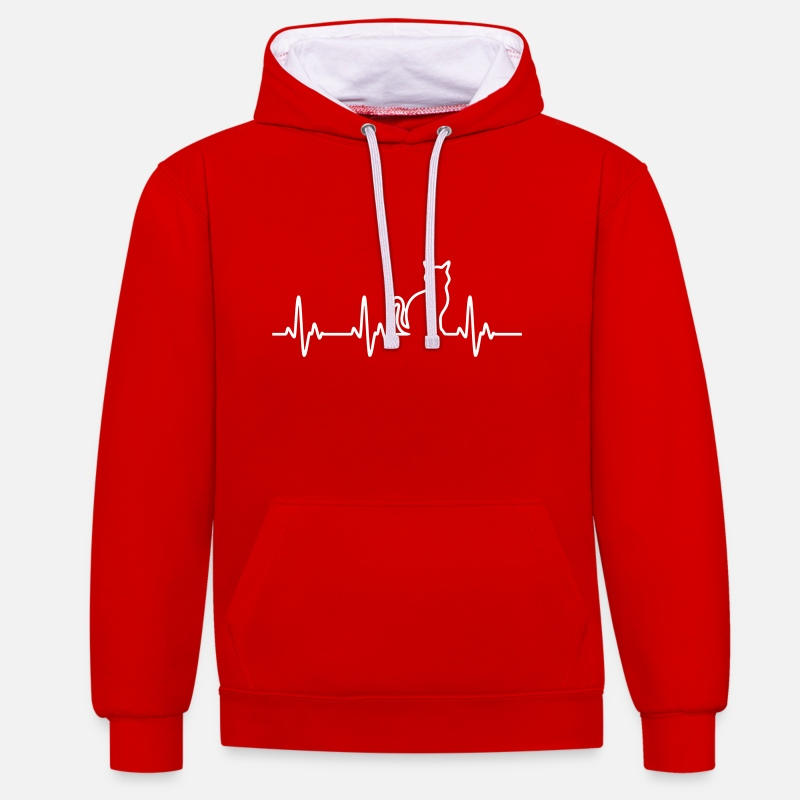 Kat Sweaters - CatHeartbeat - Unisex contrast hoodie rood/wit