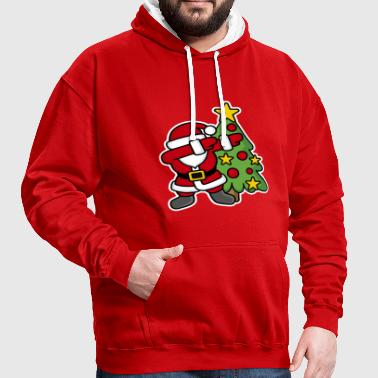 Dabbin' around the Christmas tree - Contrast Colour Hoodie