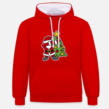 Ugly Dabbin' around the Christmas tree - Contrast Colour Hoodie