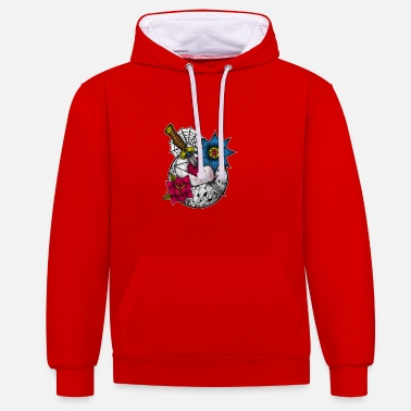 Awesome Dagger In The Heart Graphic Knife Artistic - Contrast Colour Hoodie