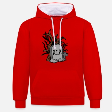 Tombstone Halloween tombstone horror - Contrast Colour Hoodie