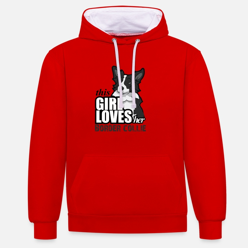 This Girl Loves Her Border Collie Hoodies & Sweatshirts - this girl loves her border - Unisex Contrast Hoodie red/white