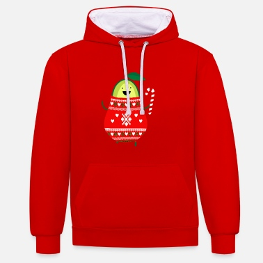 Cute Avocado Merry Christmas Ugly Sweater Santa - Contrast Colour Hoodie