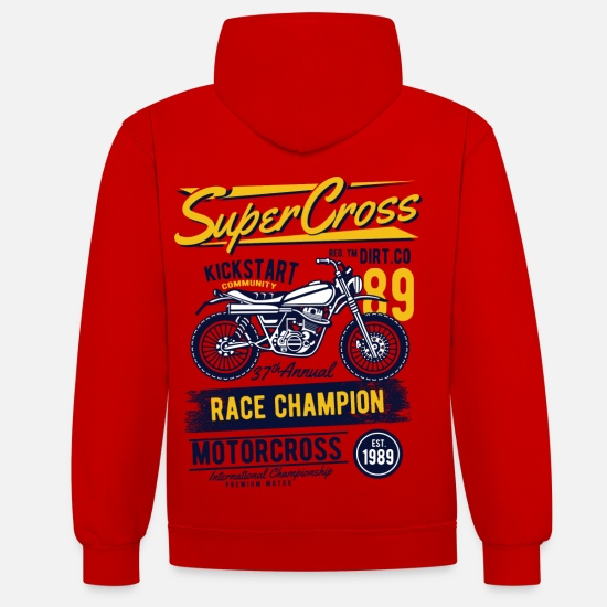 Collection De Autos Et De Motos Sweat-shirts - Super Motocross - Sweat à capuche contrasté unisexe rouge/blanc