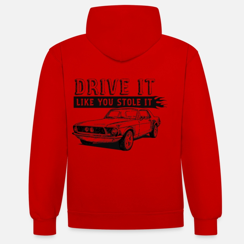 Bikes Sweaters & hoodies - Drive It - Coupe - Unisex contrast hoodie rood/wit