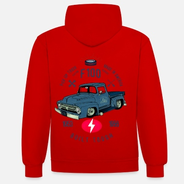 Bikes And Cars Collection F100 Built Tough - Unisex Contrast Hoodie