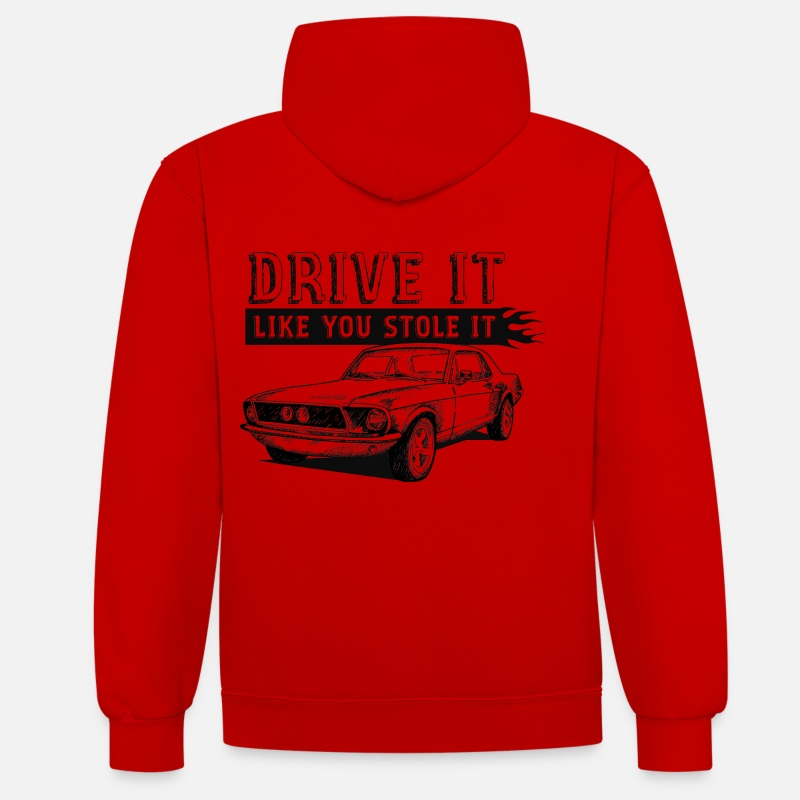 Car Hoodies & Sweatshirts - Drive It - Coupe - Unisex Contrast Hoodie red/white
