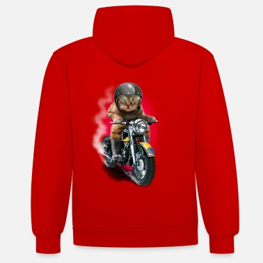 Collections CAT RIDER - Kontrastowa bluza z kapturem unisex