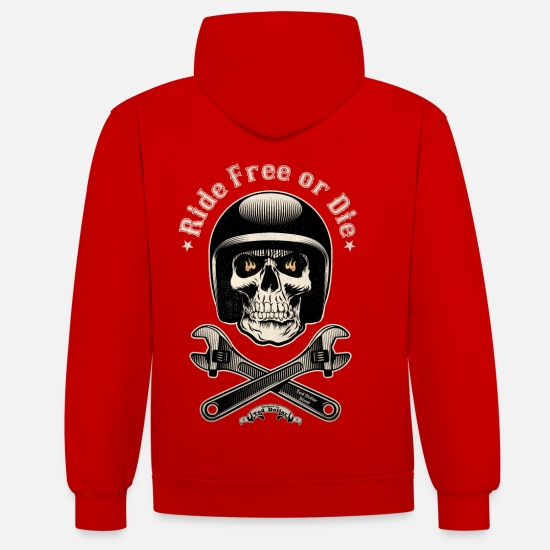 Bikes And Cars Collection V2 Hoodies & Sweatshirts - Ride free or die vintage - Unisex Contrast Hoodie red/white