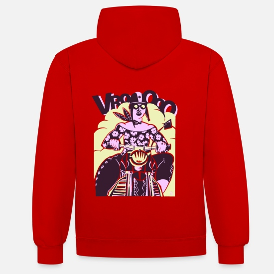 Bikes And Cars Collection V2 Hoodies & Sweatshirts - Pink Motorcycle Girl - Unisex Contrast Hoodie red/white